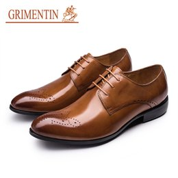 Genuine Leather Black Men Shoes NZ - GRIMENTIN Mens dress shoes genuine leather fashion mens oxford shoes hot sale high quality black brown formal business men shoes OM
