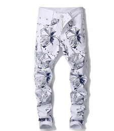 Discount white punk pants - New Fashion Floral Flower Digital Print Jeans Men's Punk Rock Nightclub Elastic White Skinny Casual Pants Trousers