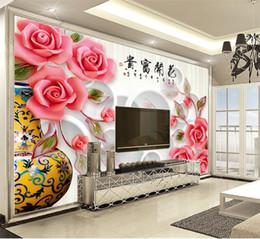 Ingrosso Personalizzato al dettaglio 3D in bottiglia rosa rosa Meravigliosamente disposti cerchio interno decorazione della parete murale