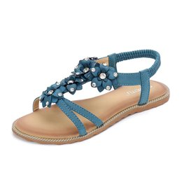 e8e2781cdd0e Women Sandals Flower Rhinestone Gladiator Bohemian Dress Beach Flat Shoes  For Girls