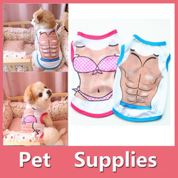 small dog t shirts NZ - DHL Free Dog Clothes Cheap Prices Supply Small Purple Blue Vest T-Shirt Apparel Dogs Cat Sexy Clothing Size S Man Women Pet Supplies