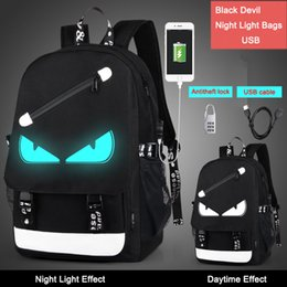 night lock 2019 - DropShipping 2017 Fashion Men Women Boy's Night Light Cartoon School Bags anti theft Backpack with free USB line+An