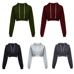 Discount wholesale cropped sweatshirts - 2018 Fashion New Women Long Sleeve Crop Top Sweatshirt Hoodies Girls Ladies Round Neck Solid Color Pullover Street Style