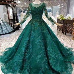 Wholesale 2019 Green Muslim Evening Dresses Lace Long Sleeves O Neck Beads Flowers Ball Gown Women Occasion Dresses China Girl Pageant Dress