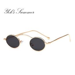 26be03aac99 Yok s Steampunk Oval Small Sunglasses Women 90s Vintage Gold Black Metal  Frame Tiny Sun Glasses Men Mini Round Gothic Oculos WN1078