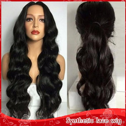 Discount quality blonde wigs - Top Quality 1b# 613# Black Blonde Body Wave Glueless Synthetic Lace Front Wigs 180% Density High Temperature Fiber Swiss