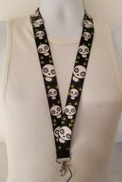 neck badge holders Australia - Hot!black Lovely panda Straps Lanyard ID Badge Holders Mobile Neck Key chains gifts