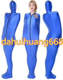 Wholesale Blue Lycra Spandex Mummy Suit Costumes Unisex Sleeping Bags Mummy Costumes Outfit With internal Arm Sleeves Halloween Cosplay Costumes DH112