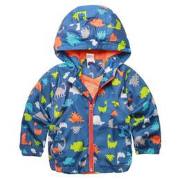 Boys Dinosaur Jacket Australia - 2017 Baby Cute Dinosaur Spring Kids Jacket Boy Outerwear Coats Active Boy Windbreaker Cartoon Sport Suit For Children Girl CY187