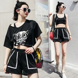 67f4698eac48c LYSEACIA Women Sportswear Gym Outdoors Exercise Fitness 3 IN 1 Yoga Set  Summer T shirt Black Sports Bra Loose Shorts With Pocket