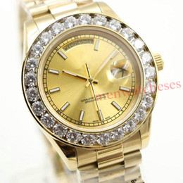 Discount pearl watch men AAA Luxury Brand Watch Gold President Day-Date Diamonds Watch Men Stainless Mother Of Pearl Diamond Bezel Automatic Wris