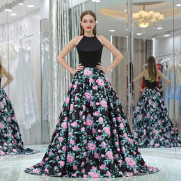 Picture Pattern NZ - Elegant Evening Dresses Long Ball Gown Black Flower Pattern Sweep Train Halter Evening Gowns Formal Party Dresses B013