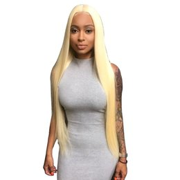 MediuM long straight hair online shopping - LIN MAN Brazilian Straight Hair Color Lace Front Wigs with Baby Hair Remy Human Hair Blonde Wigs with Bleached Knotes