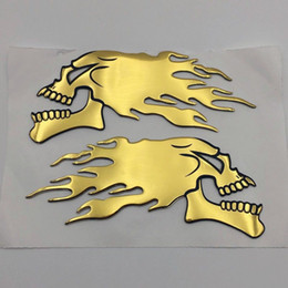 Motorcycle Fairing Decals Australia - Motorcycle Gold Skull Flame Fuel Gas Tank Fairing Emblems Badge 3D Decal Sticker