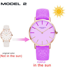 Discount solar powered roses - DHL 2018 new UV Sensitive Watch Under Sunlight BS36 Rose Gold Discoloration Belt Student Trend Cool Lady Color Change Wa