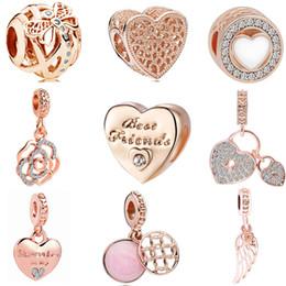 Friend charm bracelets online shopping - 2018 new european pc rose gold dragonfly heart flower lock wing friends diy bead fit pandora charm bracelet D037
