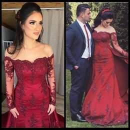 Trendy Lace Red Overskirt Mermaid Evening Dresses Long Sleeve African Saudi  Plus Size African Party Prom Formal Pageant Celebrity Gowns 39de109bfb0f
