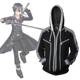 Chinese  Asian Size Japan Anime Sword Art Online Kirito Cosplay Costume 3D Long Sleeve Zipper Coat Jacket Hoodie manufacturers