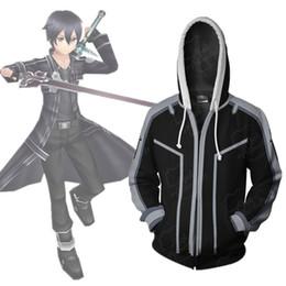 Tamaño asiático Japón Anime espada arte en línea Kirito Cosplay traje 3D manga larga cremallera chaqueta Chaqueta con capucha