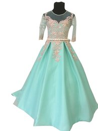 $enCountryForm.capitalKeyWord UK - Mint Green Flower Girl Dresses 2019 Gold Applique Beaded Sheer Neckline 1 2 Long Sleeve Toddler Pageant Dresses First Communion Dress