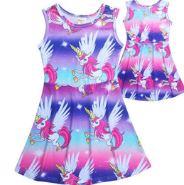 China 2018 NEW Cute Baby Unicorn Cotton Clothes Princess Summer Party Clothing Girls Vest skirt Floral Holiday Dress Free Shopping suppliers