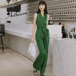 8060ce37183e Long Rompers Sexy Women Jumpsuit Summer Party Green V-neck Maxi Catsuit  Overalls Belted Bodysuit Club Pants Playsuits Rompers