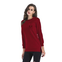 $enCountryForm.capitalKeyWord UK - Autumn and winter round neck hem split fork cartoon print plus velvet long section sweater female casual pullover