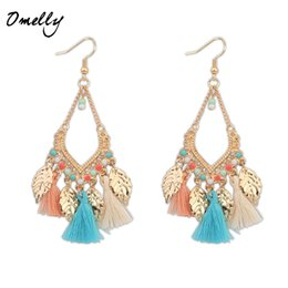 Chinese  Bohemia Boho Vintage Handmade gold plated beads leaf tassel Fringe Earring Stylish Women girl gift Lady Holiday Jewelry manufacturers
