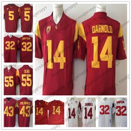 a35a4a5dc NCAA USC Trojans  14 Sam Darnold 43 Troy Polamalu 32 OJ Simpson 55 Junior  Seau 5 Reggie Bush Red White Stitched Limited Jerseys