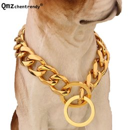 gold curb necklace 2019 - Top quality 19mm 12~34 inch Gold Silver Tone Double Curb Cuban Pet Link Stainless Steel Large Dog Chain Collar Pet Neckl