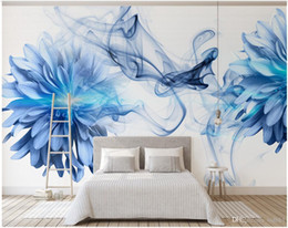 blue flowers background Canada - 3d wallpaper custom photo Modern and simple abstract smoke blue flowers bedroom background wall muals wall paper for walls 3 d