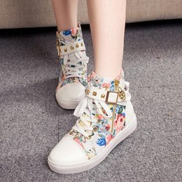 $enCountryForm.capitalKeyWord NZ - 2018 New Fashion Women's Canvas Boots Lace-up Ankle High Boots Women Boots Flats Casual Tall Punk Shoes Girls Graffiti