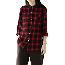 d2d8ce315 2019 Novas Mulheres Camisas Xadrez Outono Long Sleevs Turn-Down Collar  Camisa Chemise Femme Elegante Casual Oversize Camisa Top Vermelho   Preto