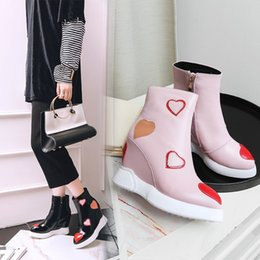 Boot Tennis Shoes Canada - Black White Patent Leather Wedged Women Snow Boots Winter Martin Boots Mujers New Pointed Toe Ankle Boots Runway Shoes Lady Tennis Sneakers
