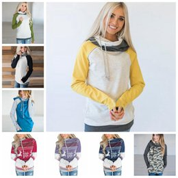 6ff9253ab 16 Color Double Hooded Pocket Pullover Tops Women clothing Pullover Hoodie  coat Side Zipper Patchwork Drawstring Sweatshirt 120pcs