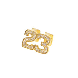Chinese  Hip Hop Double Teeth Grillz Iced Out CZ Copper Gold Silver Color Plated Number 23 Top tooth Dental Grills manufacturers