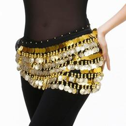Cheap Sequin Clothes NZ - 2018 Cheap Dancewear Women Bellydance Clothes Accessories Practice Hip Scarf 288 Coins Belt Gold Belly Dance Hip Belts
