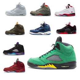suede basketball shoes NZ - New arrival 5 5s Alternate Mens Basketball Shoes BLack Grape Oregon PE White Cement Red Suede White Grape trainer sports sneaker size 8-13