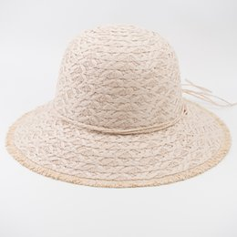 $enCountryForm.capitalKeyWord UK - EPU-MH1847 Loose Edge Paper Straw Elegant Lady Fashion Hat Baby Summer Vogue Crochet Bucket Hat for Woman