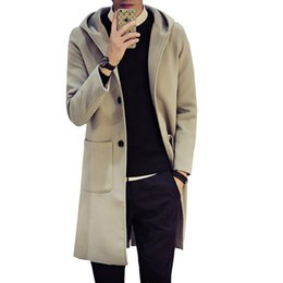 Discount casual hooded mens trench coat - Mens 2018 New Plus Size Autumn Winter Warm Slim Fit Wool Trench Male Simple Hooded Casual Long Solid Colors 5XL-M Coats