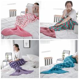 MerMaid hands online shopping - 4 Colors Mermaid Tail Blanket Knitted Hand Wash Crochet Mermaid Blanket Kids Throw Bed Wrap Super Soft Mermaid Sleeping Bag CCA10515