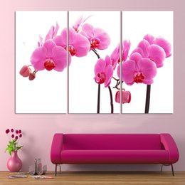 pink decorative paintings Australia - 3 Pcs Purple Pink Orchid Flower Modern Style Abstract Canvas Oil Painting Poster Pictures Decorative Painting Wall Art No Frame