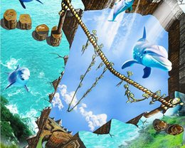 $enCountryForm.capitalKeyWord Australia - 3d wall panel Happy marine dolphins 3D drawing wallpapers for living room