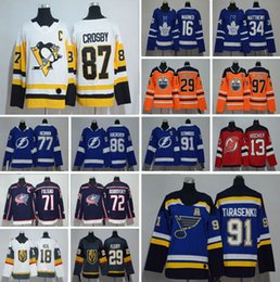 2018 Seasons Men Stitched 91 Vladimir Tarasenko 13 Nico Hischier 86 Nikita  Kucherov 71 Nick Foligno Hockey Jerseys Women Youth Size 0635c10d0