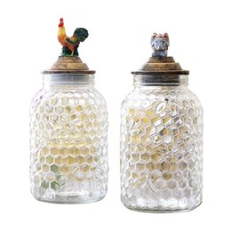 Glasses Storage Australia - Interesting pastoral animal glass sealed storage bottles Jars Unique cock elephant glass decorative jar