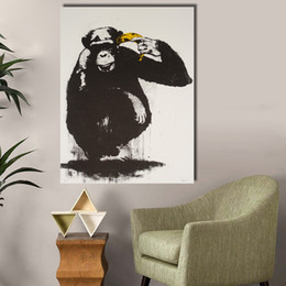 $enCountryForm.capitalKeyWord NZ - 1 Pcs Wall Art Canvas Prints Gorilla and Banana Decorative Pictures Oil Painting for Living Room No Framed