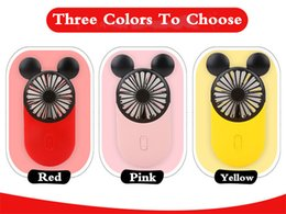 Chinese  Newest Creative Mini Cartoon Mickey Fan USB Rechargeable Charge Handheld 3 Colors USB Electric Mini Hand Portable Fan With Free Finger Ring manufacturers