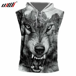 80073260a406b UJWI 2018 Summer Tanks Men s Cool Print Crazy Wolf 3D Tank Top With Hood  Man Hiphop Sleeveless Hoody Drawstring Undershirt 7XL
