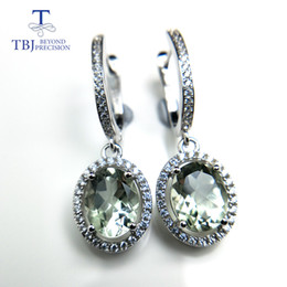 Discount daily wear earrings - TBJ, New elegant drop clasp earring with natural green amethyst 4ct gemstone for women daily party wear in 925 silver as