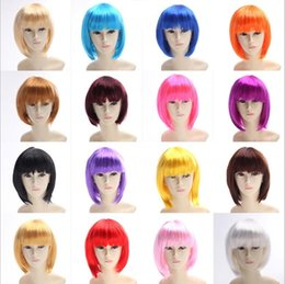 straight synthetic wigs NZ - Synthetic Hair Wigs Short Bob Wigs fashion girl Straight Bangs Bob popular festival lady party cosplay wig costume wigs